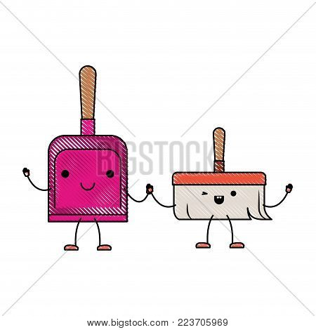 kawaii cartoon hand dustpan top view and hand broom holding hands in colored crayon silhouette vector illustration