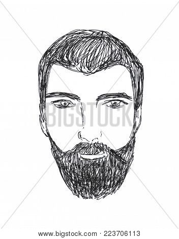 Hand Drawn Illustration Of Hipster Man With Beard.