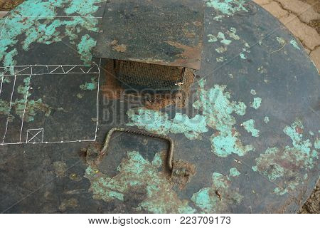 Funky rusted corroded metal horizontal grunge background