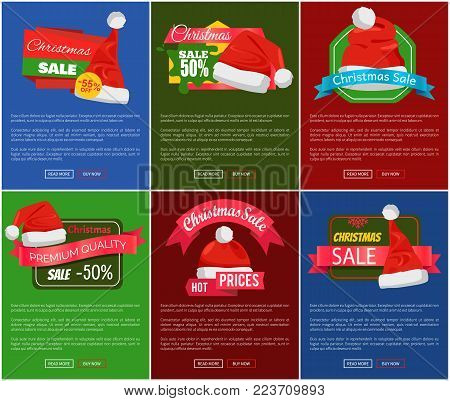 Six Christmas sale 50 percent off promo posters vector illustration with lot of red festive caps with pretty white buboes, text sample, glossy ribbons