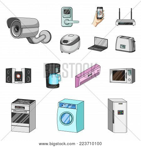 Smart home appliances cartoon icons in set collection for design. Modern household appliances vector symbol stock illustration.