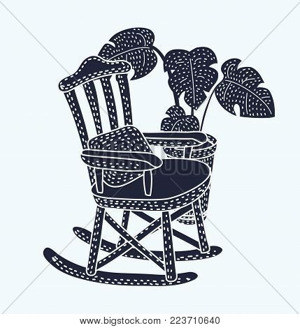 Vector cartoon black and white illustration of Rocking chair. Vector cartoon illustration of cozy rocking chair for modern living room. Monstera plant in pot behind. Isolated object on white background.
