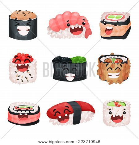 Funny cute sushi and sashimi cartoon characters set, Japanese food with funny faces vector Illustrations on a white background