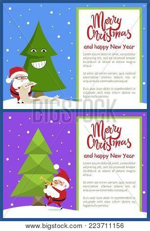 Merry Christmas and Happy New Year poster with Santa reading wish list and playing on trumpet near emoji Xmas tree, snowy backdrop vector illustration