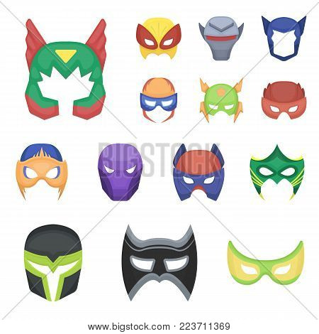 Carnival mask cartoon icons in set collection for design.Mask on the eyes and face vector symbol stock  illustration.