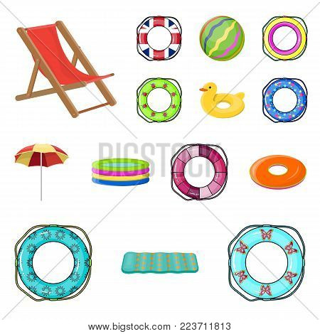 Multicolored swimming circle cartoon icons in set collection for design. Different lifebuoys vector symbol stock illustration.