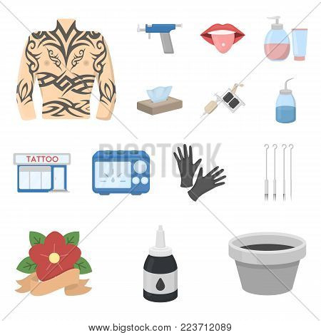 Tattoo, drawing on the body cartoon icons in set collection for design. Tattoo salon and equipment vector symbol stock  illustration.
