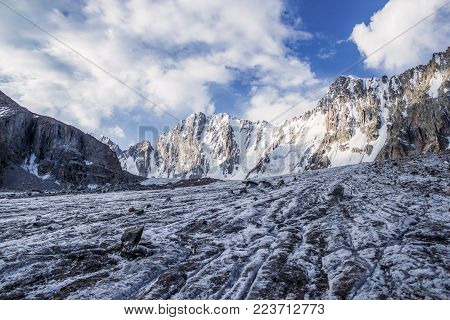 beautiful landscape with amazing rocks and snow capped mountains, kyrgyzstan, ala archa