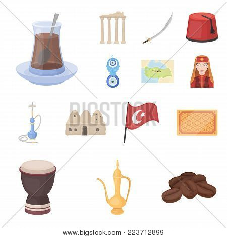 Turkey country cartoon icons in set collection for design.Travel and attractions vector symbol stock  illustration.