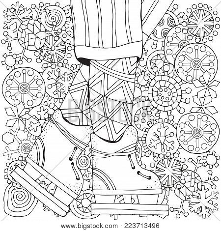 Winter Boy On Skates Snowflakes Adult Coloring Book Page Hand Drawn