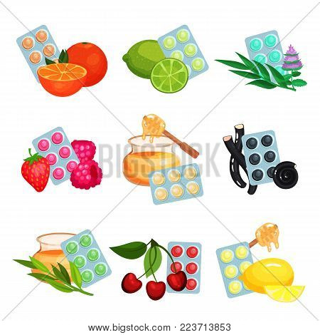 Package of lozenges set, flavored different tastes of sucking candies for sore throat and cough remedy cartoon vector Illustrations on a white background