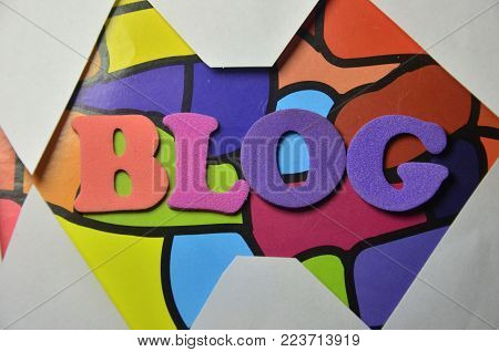 word blog on an n  abstract colored background