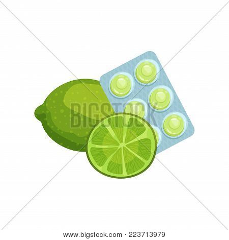 Package of lozenges with lime fruit flavor taste, sucking candies for sore throat and cough remedy cartoon vector Illustration on a white background