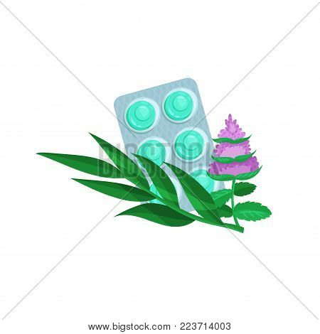 Package of lozenges with medicinal herbs, flavored sucking candies with eucalyptus and mint for sore throat and cough remedy cartoon vector Illustration on a white background