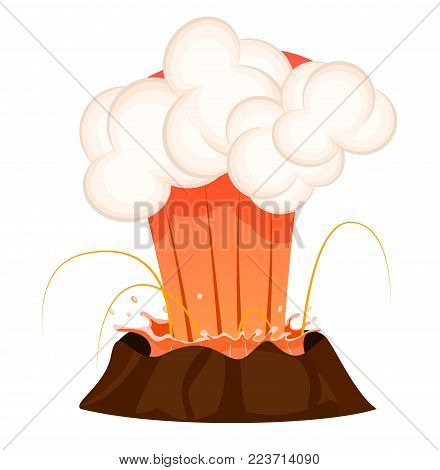 Strong jet of effluent hot lava, white clouds over top isolated. Erupting rock pinnacle volcano disaster with burning fire, last stage. Vector illustration of geological formations in cartoon style.