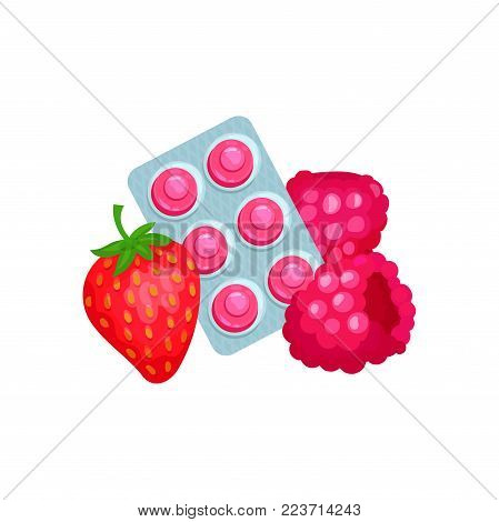 Package of lozenges with strawberry and raspberry flavor tastes, sucking candies for sore throat and cough remedy cartoon vector Illustration on a white background