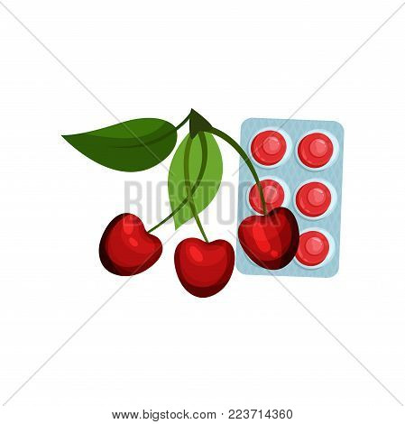 Package of lozenges with cherry flavor taste, sucking candies for sore throat and cough remedy cartoon vector Illustration on a white background