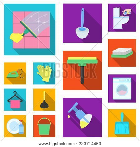 Cleaning and maid flat icons in set collection for design. Equipment for cleaning vector symbol stock  illustration.