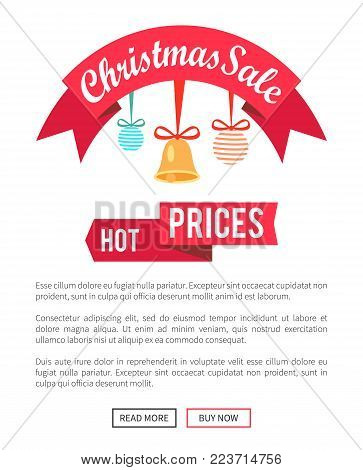 Hot prices Christmas sale poster with cute toys, vector illustration with text sample isolated on white background, glossy red ribbon push-buttons