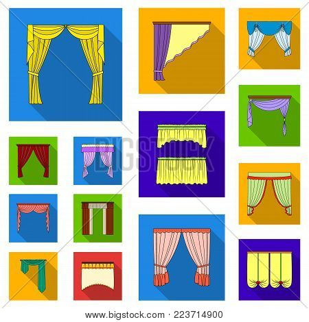 Different kinds of curtains flat icons in set collection for design. Curtains and lambrequins vector symbol stock  illustration.