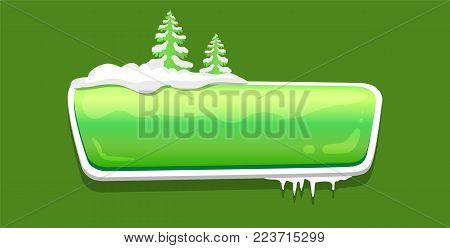 No text glossy web push button covered with snow, decorated by Xmas trees vector online shopping sign isolated on green, website label, download symbol