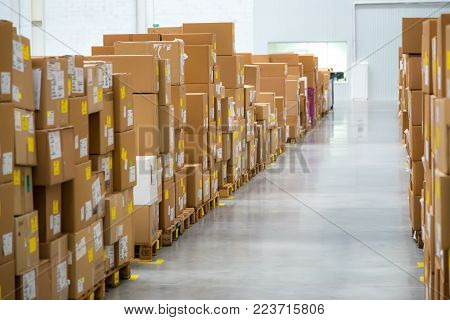 Large hangar warehouse of industrial and logistics companies long shelves with a variety of boxes