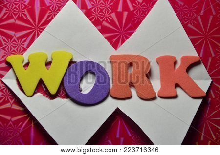 word work on an   abstrtact colored background