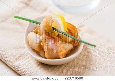 Fried calamari rings Italian style. Tapas or finger food.