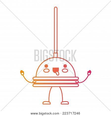 kawaii cartoon toilet pump in degraded yellow to magenta silhouette vector illustration