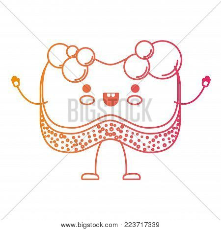 kawaii cartoon sponge with bubbles of soap in degraded yellow to magenta silhouette vector illustration