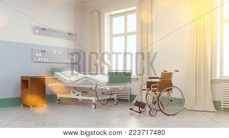 Wheelchair and hospital bed in a room in the hospital (3D Rendering)