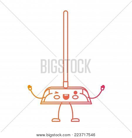 kawaii cartoon dustpan with wooden stick in degraded yellow to magenta silhouette vector illustration