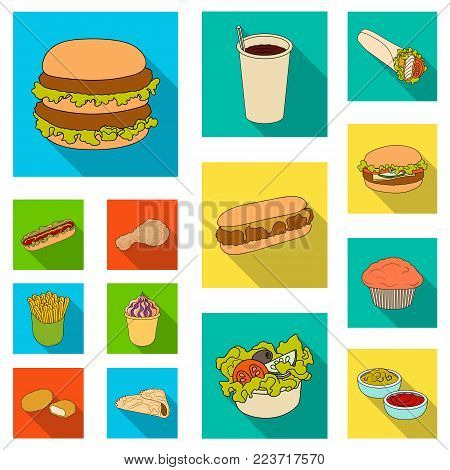 Fast food flat icons in set collection for design.Food from semi-finished products vector symbol stock  illustration.