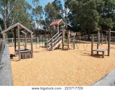 Suburban playground at Gardiners Creek in Burwood in suburban Melbourne, Australia.