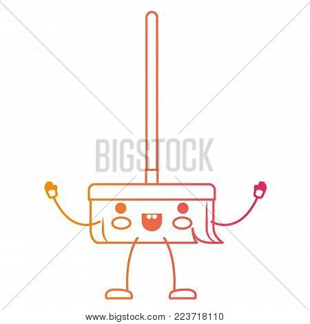 kawaii cartoon broom with wooden stick i in degraded yellow to magenta silhouette vector illustration