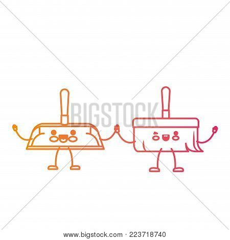 kawaii cartoon hand broom and hand dustpan holding hands in degraded yellow to magenta silhouette vector illustration