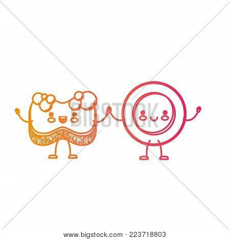 kawaii cartoon dish and sponge holding hands in degraded yellow to magenta silhouette vector illustration