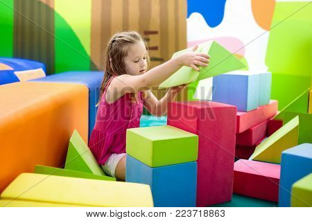 Kids Play. Construction Toy Blocks. Child Toys