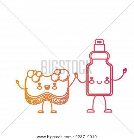 kawaii cartoon sponge and detergent bottle holding hands in degraded yellow to magenta silhouette vector illustration