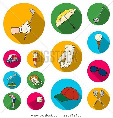 Golf and attributes flat icons in set collection for design.Golf Club and equipment vector symbol stock  illustration.