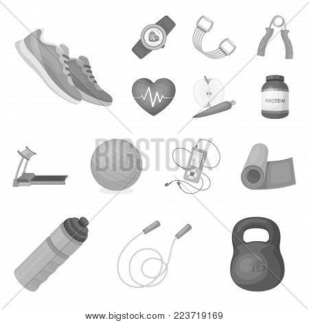Gym and training monochrome icons in set collection for design. Gym and equipment vector symbol stock illustration.