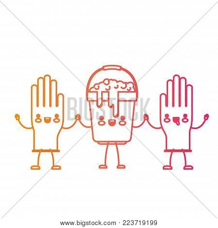 kawaii cartoon gloves and bucket with soapy water holding hands in degraded yellow to magenta silhouette vector illustration