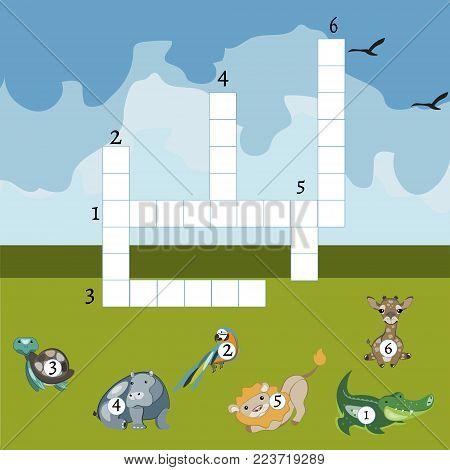 Funny animals crossword for kids. Vector design