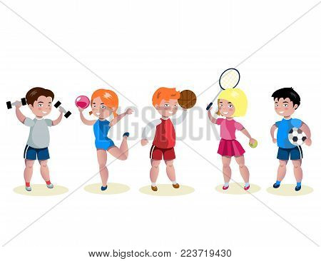 Cartoon kids sports characters set. Vector illustration