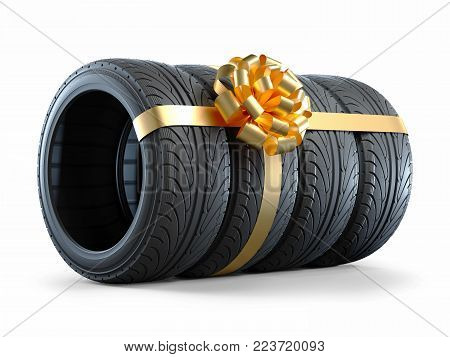 Car tires wrapped in a gift ribbon with a bow. Objects isolated on white background 3d
