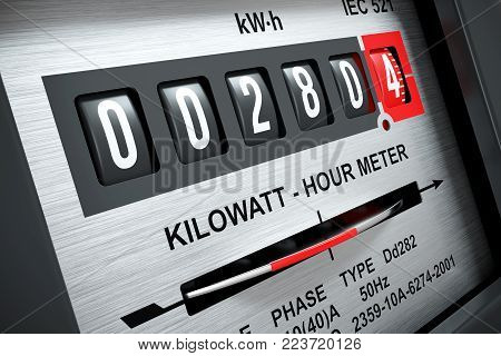 Electricity kilowatt hour meter closeup 3d render