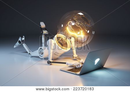 Personage light bulb robot and laptop. Search for idea. Concept 3d render