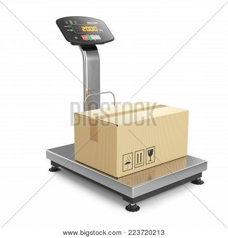 Weighing of postal parcel on scales. Objects isolated on white background 3d