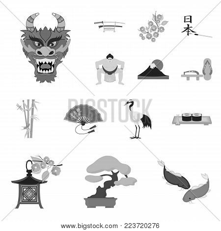 Country Japan monochrome icons in set collection for design.Japan and landmark vector symbol stock  illustration.