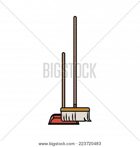 dustpan and broom in colored crayon silhouette vector illustration